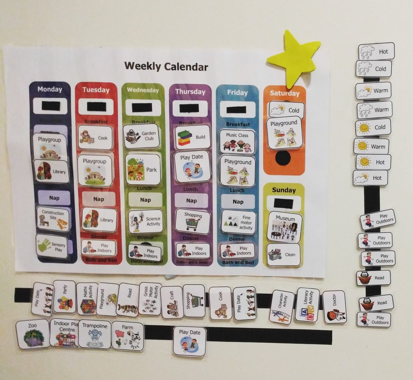 Weekly Activity Calendar for Preschoolers