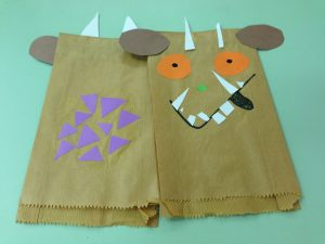 Gruffalo puppets made from paper bags